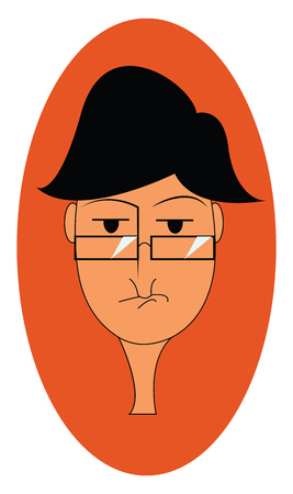 A portrait of a boy wearing glasses expresses sadness over an oval-shaped orange background vector color drawing or illustration 向量圖像