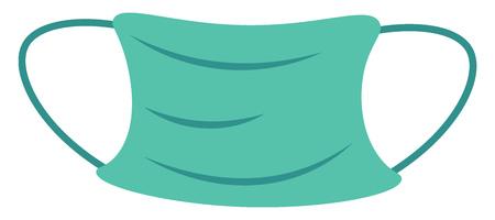 Una mascarilla de médico desechable verde que se utiliza durante cirugías y otros procedimientos, dibujo o ilustración en color vectorial