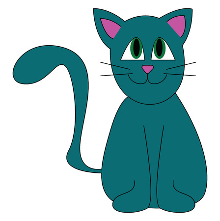 A blue cat with purple ears and nose smiling with its tail lifted up vector color drawing or illustration