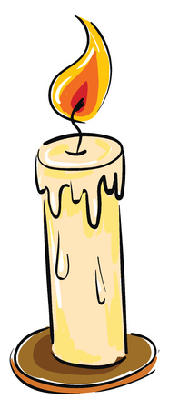 A half-melted candle list in a brown stand with an orange and yellow flame vector color drawing or illustration Banco de Imagens - 123411952