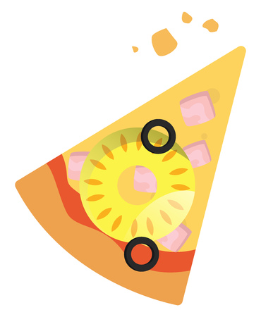 Slice of Hawaiian pizza illustration vector on white background