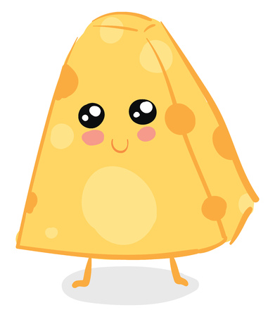 A cute piece of triangular cheese standing upright with a smile on the face vector color drawing or illustration