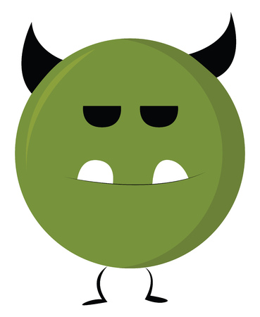 A circular green monster with black horns and two teeth standing upright vector color drawing or illustration