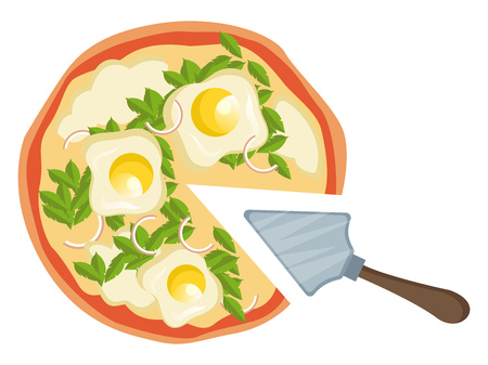 Pizza with eggs illustration vector on white background