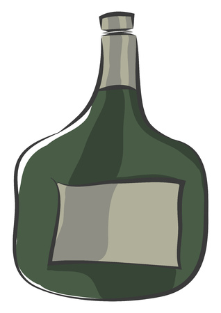 A green bottle having its cap twisted slightly to open vector color drawing or illustration