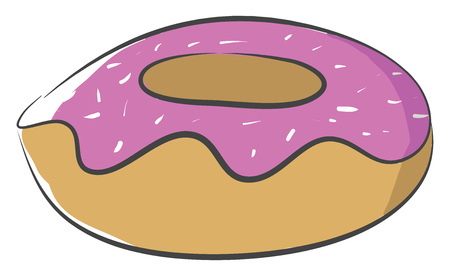 A big brown doughnut with pink frosting and colorful sprinkles on it placed in a showcase vector color drawing or illustration