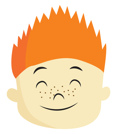 A boy with orange spiked hair and freckles on the face is closing his eyes and smiling vector color drawing or illustration