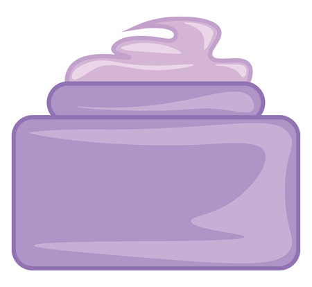 A small purple container filled with purple beauty cream placed on a table vector color drawing or illustration