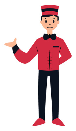 Doorman character in red and black suit vector illustration on a white background Illusztráció