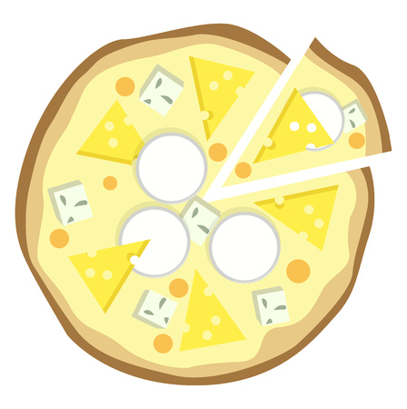 Double cheese pizza illustration vector on white background 일러스트