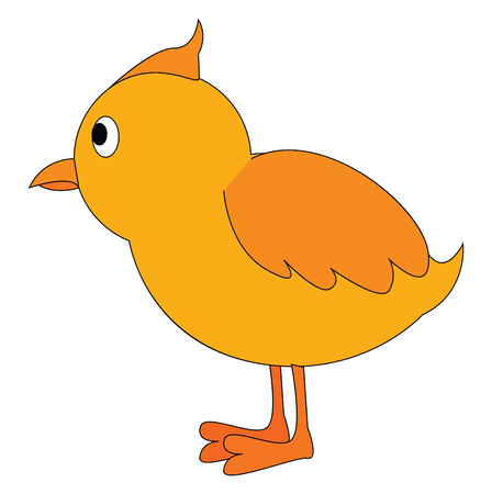 A side view of a yellow chick standing upright vector color drawing or illustration 向量圖像
