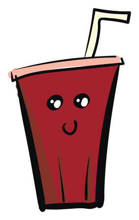 A red disposable cup containing Cola with a smiley face vector color drawing or illustration 向量圖像