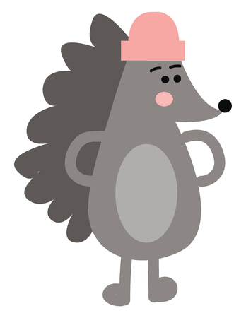 A standing cartoon hedgehog with hands on the waist and a pink hat on the head looks so cute and lovely vector color drawing or illustration