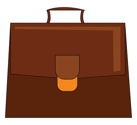 A big brown briefcase with a handle and a golden buckle closure carrying necessary documents vector color drawing or illustration Ilustração