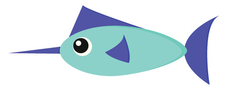 A cartoon marlin fish with an elongated body a purple-colored spear-like snout or bill and a purple-colored long rigid dorsal fin vector color drawing or illustration Illustration