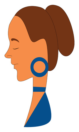 A woman with brown hair in a blue dress with eyes closed wearing a blue earring vector color drawing or illustration