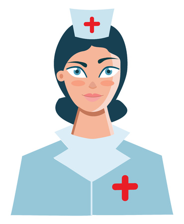 A nurse at the hospital dressed in her uniform with a plus sign printed both in her cap and the uniform vector color drawing or illustration Stock Illustratie