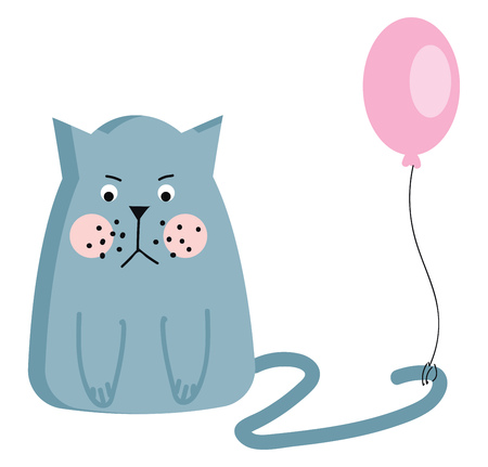 A grumpy light blue cat with pink cheeks and a pink balloon attached to the tail vector color drawing or illustration  イラスト・ベクター素材