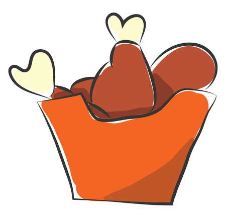 An orange box of fast food including deeply fried chicken thighs vector color drawing or illustration Standard-Bild - 121232591