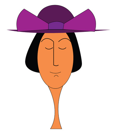 A lady with short black hair having her eyes closed wearing a large purple hat with a huge purple bow on it vector color drawing or illustration Imagens - 123412006