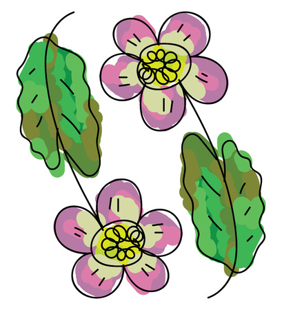 Two multi-colored cartoon oily flowers with green leaves lie close to each other vector color drawing or illustration