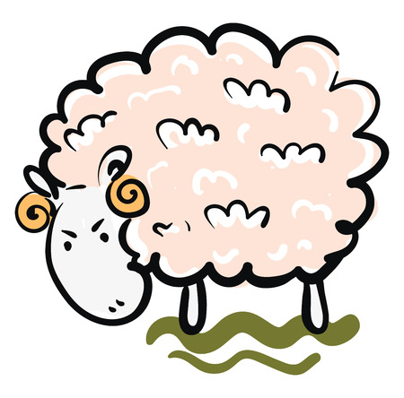 Clipart of a ram having pink wool two horns looking down with an angry expression on the face vector color drawing or illustration