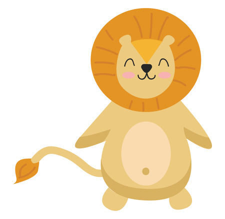 A happy cartoon lion yellow in color and a round-shaped head is with smiling eyes and a broad closed smile turning up to rosy cheeks vector color drawing or illustration 向量圖像