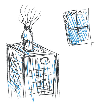 Drawing of an inside home window and a bottled plant on a table vector color drawing or illustration