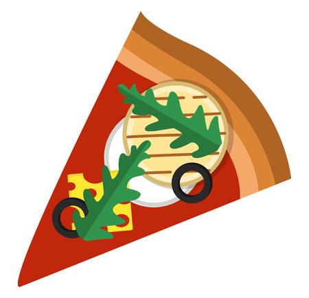Pizza slice with arugulacheese and veggies illustration vector on white background Ilustracja