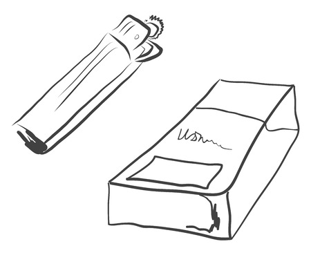 Pair of a black and white cigarette packet and a lighter kept together vector color drawing or illustration Ilustração