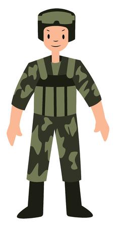Soldier character vector illustration on a white background Ilustração
