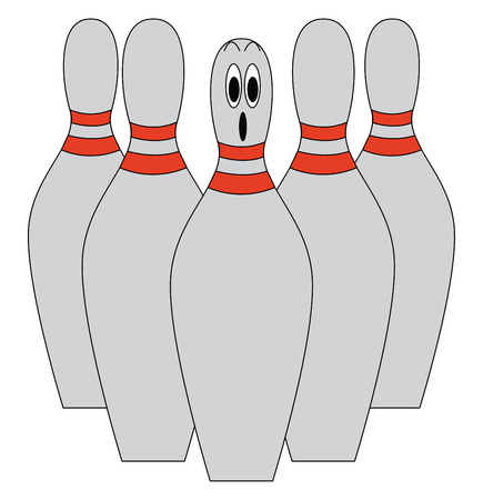 A set of five grey-colored bowling pins with one pin at the center being dismayed All the pins with red dual stripes around the neck vector color drawing or illustration  Illustration