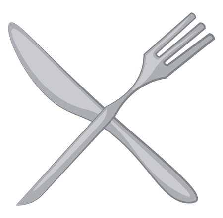 Clipart of fork and knife two pieces of cutlery that are often used together for eating vector color drawing or illustration Çizim