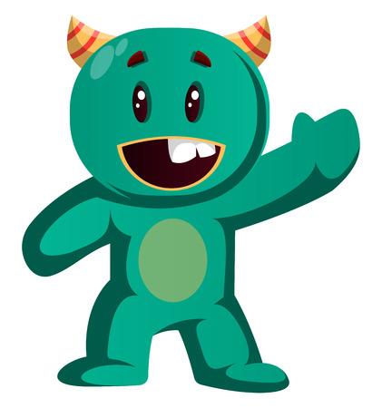 Green monster wavingvector illustration 向量圖像