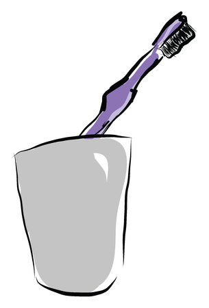 A purple toothbrush with black bristles placed in a grey glass inside a bathroom vector color drawing or illustration Illustration