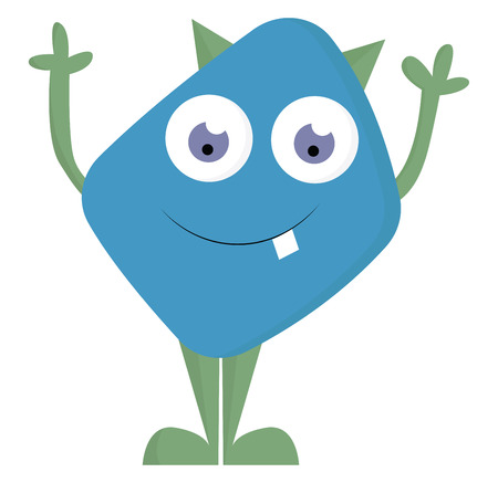 A monster with an oval-shaped body blue in color has raised his hands while standing It has rolling eyes looking down and a tooth projecting out vector color drawing or illustration
