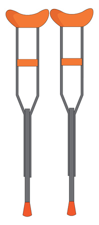 A pair of orange and grey metal crutches used for disabled people vector color drawing or illustration