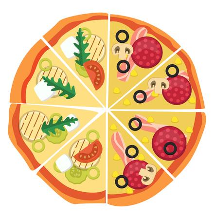 Half pepperonihalf veggie pizza illustration vector on white background  イラスト・ベクター素材