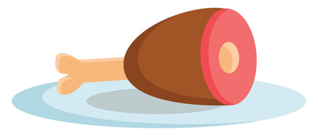 A piece of roasted meat served on a blue plate vector color drawing or illustration