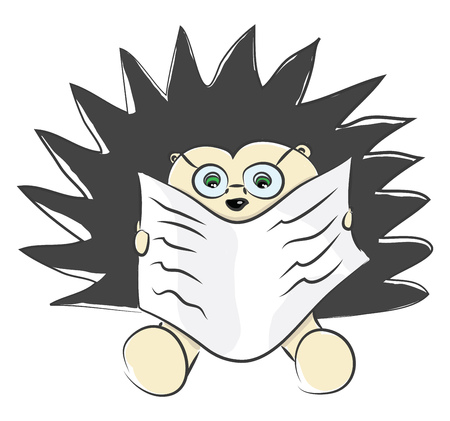 A brown-colored hedgehog with black spine like hair looks so cute with spectacles while sitting and reading the newspaper vector color drawing or illustration Illustration