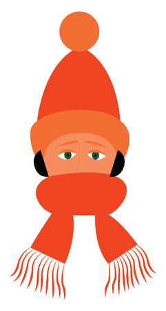 Boy with black hair and blue eyes wearing a set of orange winter cap and scarf vector color drawing or illustration Illustration