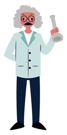 Old scientist character vector illustration on a white background Ilustração