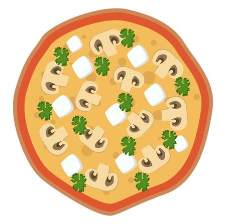 Feta and mushroom pizza illustration vector on white background Иллюстрация