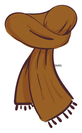 A brown neck scarf with tassels on the edges vector color drawing or illustration Ilustrace