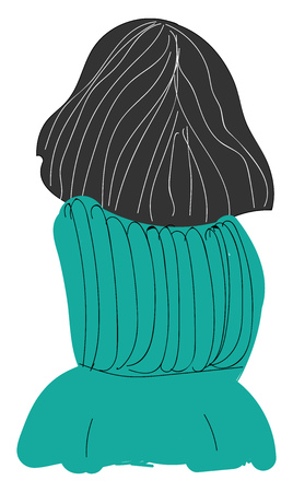 The back view of a girl with short black hair and a teal green sweater vector color drawing or illustration