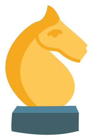 The knight a piece in the game of chess represented by a horses head and neck yellow in color and rested on a small blue piece vector color drawing or illustration Çizim