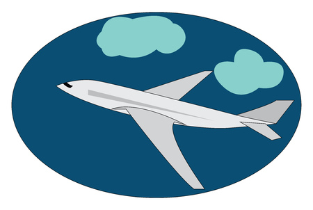 A picture of a white aircraft flying in the sky among the clouds vector color drawing or illustration Illustration