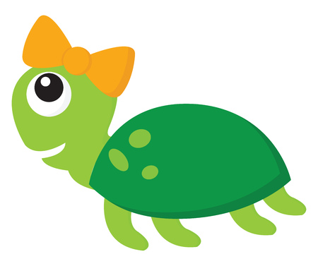 Female green turtle with a yellow bow on the head swimming in the ocean vector color drawing or illustration