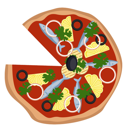 Pizza with sardinelemon and grilled veggie illustration vector on white background Illustration