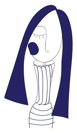 A girl with long blue hair and a blue cheek with an eye closed and wearing a striped dress vector color drawing or illustration